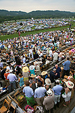 USA, Tennessee, Nashville, Iroquois Steeplechase, view of the track and fans from the top of the tower during a race
