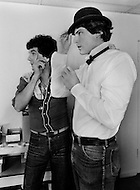 April 27th, 1979. French costume designer, Jean-Pierre Dorléac at his Studio with Christopher Reeve during a fitting. He has designed performance costumes for various artists as well as famous movies.