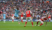 Manchester City's Raheem Sterling sees his shot blocked<br /> <br /> Photographer Rob Newell/CameraSport<br /> <br /> The Emirates FA Cup Semi-Final - Arsenal v Manchester City - Sunday 23rd April 2017 - Wembley Stadium - London<br />  <br /> World Copyright &copy; 2017 CameraSport. All rights reserved. 43 Linden Ave. Countesthorpe. Leicester. England. LE8 5PG - Tel: +44 (0) 116 277 4147 - admin@camerasport.com - www.camerasport.com