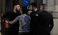 Pictured: Men square up in the early hours of New Year's Day. Sunday 01 January 2017<br /> Re: Revellers out celebrating the New Year in the pub and club on Wind Street Swansea