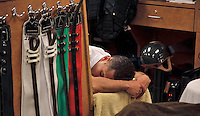 Leading rider at the 2012 Gulfstream meet and one of the top jockeys in the nation, Javier Castellano relaxes between races. As busy as the jocks room is, there is always a respectful quietude when a jockey prepares to ride..