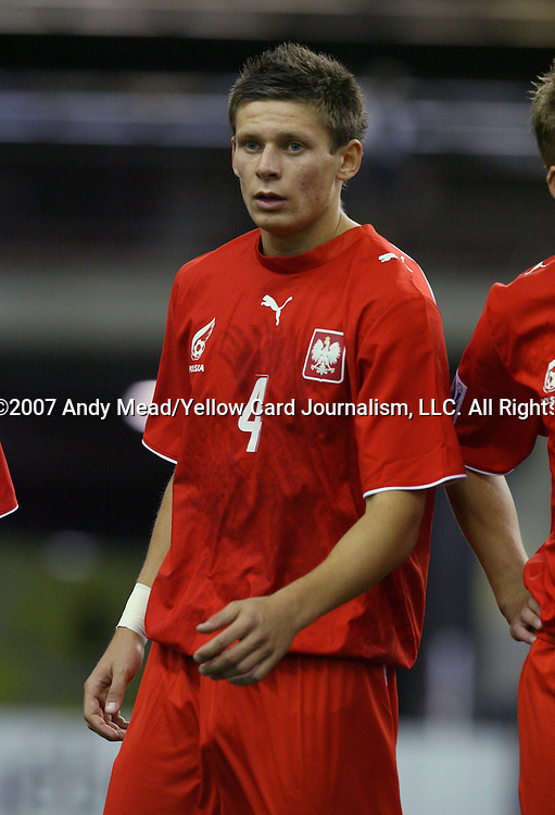 30 June 2007: Poland's Krzysztof Krol. At Le Stade Olympique in Montreal, Quebec, Canada. Poland's Under-20 Men's National Team defeated Brazil's Under-20 Men's National Team 1-0 in a Group D opening round match during the FIFA U-20 World Cup Canada 2007 tournament.