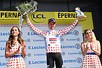 Tim Wellens (BEL) Lotto-Soudal takes over the mountains Polka Dot Jersey at the end of Stage 3 of the 2019 Tour de France running 215km from Binche, Belgium to Epernay, France. 8th July 2019.<br /> Picture: ASO/Alex Broadway | Cyclefile<br /> All photos usage must carry mandatory copyright credit (© Cyclefile | ASO/Alex Broadway)