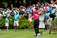 Gainesville, VA - August 2, 2015:  Tiger Woods tees off on the 12th hole during the Quicken Loans National at the Robert Trent Jones Golf Club in Gainesville, VA. August 2, 2015. Tiger finished the tournament -8 after being tied for second following round two. (Photo by Philip Peters/Media Images International)