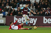 West Ham United's Marko Arnautovic and West Bromwich Albion's Grzegorz Krychowiak<br /> <br /> Photographer Rob Newell/CameraSport<br /> <br /> The Premier League - West Ham United v West Bromwich Albion - Tuesday 2nd January 2018 - London Stadium - London<br /> <br /> World Copyright &copy; 2018 CameraSport. All rights reserved. 43 Linden Ave. Countesthorpe. Leicester. England. LE8 5PG - Tel: +44 (0) 116 277 4147 - admin@camerasport.com - www.camerasport.com