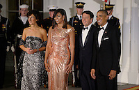 President Barack Obama and First Lady Michelle Obama welcome Prime Minister of Italy Matteo Renzi and Mrs. Agnese Landini at the North Portico  of the White House on October 18, 2016 in Washington, DC. <br /> Credit: Olivier Douliery / Pool via CNP / MediaPunch