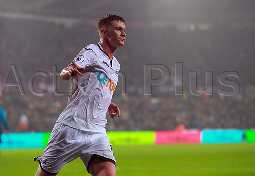 30th January 2018, Liberty Stadium, Swansea, Wales; EPL Premier League football, Swansea City versus Arsenal; Sam Clucas of Swansea City celebrates after scoring his sides goal first goal and the equaliser in the 34th minute of the match