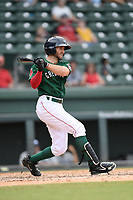 Left fielder Jagger Rusconi (7) of the Greenville Drive bats in a game against the Asheville Tourists on Sunday, June 3, 2018, at Fluor Field at the West End in Greenville, South Carolina. Greenville won, 7-6. (Tom Priddy/Four Seam Images)