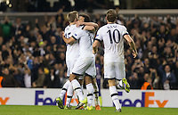 Winning goalscorer Mousa Dembele (centre) of Tottenham Hotspur is congratulated by Harry Kane of Tottenham Hotspur & Eric Dier of Tottenham Hotspur during the UEFA Europa League Group J match between Tottenham Hotspur and R.S.C. Anderlecht at White Hart Lane, London, England on 5 November 2015. Photo by Andy Rowland.