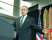 """Washington, D.C. - February 20, 2007 -- United States President George W. Bush makes remarks during the Ceremonial Swearing-in for retired Vice Admiral John Michael """"Mike"""" McConnell as the second Director of National Intelligence (DNI) in Washington, D.C. on Tuesday, February 20, 2007.  McConnell replaces John Negroponte.<br /> Credit: Ron Sachs - Pool"""
