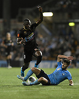 1st November 2019; Leichhardt Oval, Sydney, New South Wales, Australia; A League Football, Sydney Football Club versus Newcastle Jets; Abdiel Arroyo of Newcastle Jets is tackled by Paulo Retre of Sydney  on the edge of the box - Editorial Use