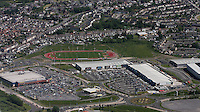 Aerial view of the new shopping development next the Parc Y Scarlets stadium home ground of Llanelli Scarlets RFC