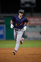 State College Spikes David Vinsky (11) running the bases during a NY-Penn League game against the Batavia Muckdogs on July 3, 2019 at Dwyer Stadium in Batavia, New York.  State College defeated Batavia 6-4.  (Mike Janes/Four Seam Images)