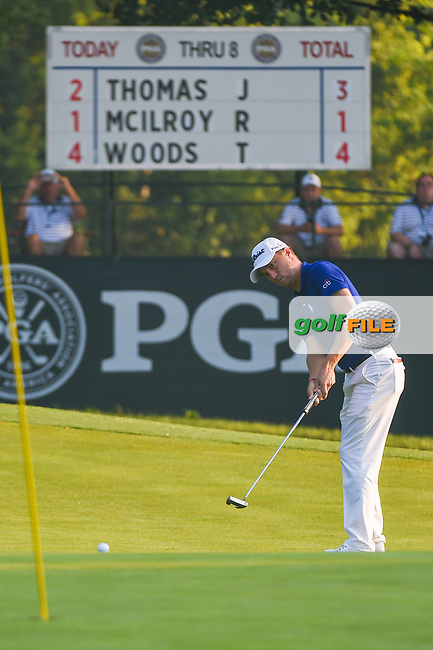 Justin Thomas (USA) watches his putt on 9 during 2nd round of the 100th PGA Championship at Bellerive Country Club, St. Louis, Missouri. 8/11/2018.<br /> Picture: Golffile | Ken Murray<br /> <br /> All photo usage must carry mandatory copyright credit (© Golffile | Ken Murray)