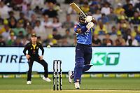1st November 2019; Melbourne Cricket Ground, Melbourne, Victoria, Australia; International T20 Cricket, Australia versus Sri Lanka; Kusal Perera of Sri Lanka hits the ball through the leg side - Editorial Use