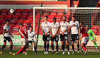 Crewe Alexandra's George Cooper takes a free kick and misses<br /> <br /> Photographer Rachel Holborn/CameraSport<br /> <br /> The Carabao Cup - Crewe Alexandra v Bolton Wanderers - Wednesday 9th August 2017 - Alexandra Stadium - Crewe<br />  <br /> World Copyright &copy; 2017 CameraSport. All rights reserved. 43 Linden Ave. Countesthorpe. Leicester. England. LE8 5PG - Tel: +44 (0) 116 277 4147 - admin@camerasport.com - www.camerasport.com
