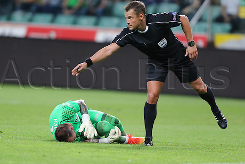 03.08.2016, Warsaw, Poland,  Arkadiusz Malarz (Legia), sedzia Vladislav Bezborodov, Legia Warsaw versus AS Trencin, Champions League, qualification. The game  ended in a 0-0 draw with Legio going through on away goal.