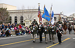 The Carson City Sheriff's Office and Fire Department Honor Guard participate in the annual Nevada Day parade in Carson City, Nev. on Saturday, Oct. 29, 2016. <br />