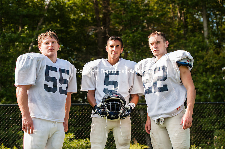 OXFORD, CT-25 August 2014-082514EC08-  From L to R: Noah Lisewski, Owen Diaz and Gunnar Fay of the Oxford football team. Erin Covey Republican-American