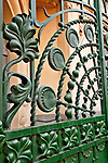 Detail of the art nouveau gate of the SGAE mansion (Sociedad General de Autores y Editores); Palacio Longoria building at the corner of Fernando VI and Pelayo streets. The building was designed by José Grases Riera and built between 1902 and 1904