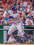22 August 2015: Milwaukee Brewers first baseman Jason Rogers pinch hits against the Washington Nationals at Nationals Park in Washington, DC. The Nationals defeated the Brewers 6-1 in the second game of their 3-game weekend series. Mandatory Credit: Ed Wolfstein Photo *** RAW (NEF) Image File Available ***
