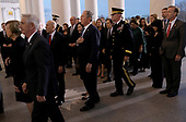 WASHINGTON, DC - DECEMBER 03: Former U.S. President George W. Bush (C) and members of his family follow the casket carrying his father, former U.S. President George H. W. Bush, into the U.S. Capitol December 3, 2018 in Washington, DC. A state funeral for former U.S. President Bush will be held in Washington over the next three days, beginning with him lying in state in the Rotunda of the Capitol until Wednesday morning.(Photo by Win McNamee/Getty Images)