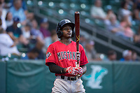Billings Mustangs left fielder Zeek White (6) stands on deck during a Pioneer League game against the Ogden Raptors at Lindquist Field on August 17, 2018 in Ogden, Utah. The Billings Mustangs defeated the Ogden Raptors by a score of 6-3. (Zachary Lucy/Four Seam Images)