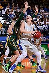 BROOKINGS, SD - JANUARY 31:  Ellie Thompson #45 from South Dakota State University backs down to the defense of Holly Johnson #12 from North Dakota State University in the first half of their game Saturday afternoon at Frost Arena in Brookings. (Photo by Dave Eggen/Inertia)