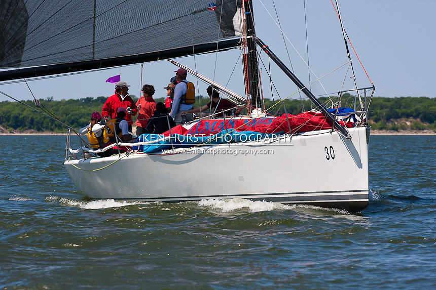 Enigma, a Farr 39ML, racing at Texoma Sailing Club Lakefest Regatta 2011, 25th annual charity regatta at Lake Texoma, Denison, Texas.