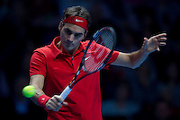 Roger Federer (SUI) (2) against Andy Murray (GBR) (5) in a Group B match. Roger Federer beat Andy Murray 6-4 6-2..International Tennis - Barclays ATP World Tour Finals - O2 Arena - London - Day 3 - Tue 23 Nov 2010..© Frey - AMN Images, Level 1, Barry House, 20-22 Worple Road, London, SW19 4DH.Tel - +44 208 947 0100.Email - Mfrey@advantagemedianet.com.Web - www.amnimages.photshelter.com
