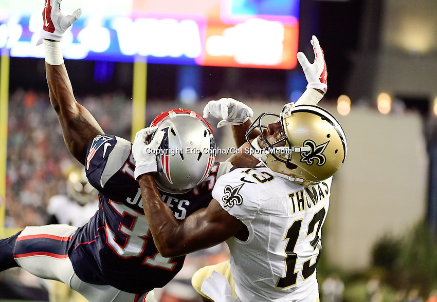 Thursday August 11, 2016: New England Patriots cornerback Jonathan Jones (31) covers New Orleans Saints wide receiver Michael Thomas (13) in the endzone during an NFL pre-season game between the New Orleans Saints and the New England Patriots held at Gillette Stadium in Foxborough Massachusetts. The Patriots defeat the Saints 34-22 in regulation time. Eric Canha/CSM