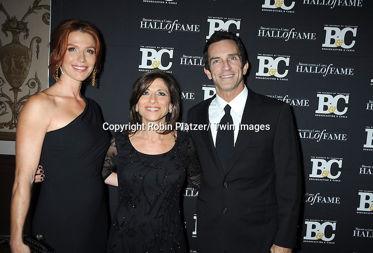 Poppy Montgomery, Nina Tassler, President of CBS Entertainment, and Jeff Probst attend the 2011 Broadcasting & Cable Hall of Fame Awards on October 26, 2011 at the Waldorf Astoria Hotel in New York City.