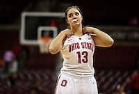 Ohio State's Cait Craft (13) gets ready for the 2nd half of a women's basketball game between the Ohio State Buckeyes and the North Carolina Central Eagles on December 29, 2013 at Value City Arena. (Columbus Dispatch photo by Fred Squillante)
