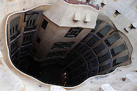 Plaster Ceiling, Interior Courtyard, La Pedrera (Casa Milà), Barcelona, Catalonia, Spain, built by Antoni Gaudí (Reus 1852 ? Barcelona 1926), 1906 - 1910, for  Milà Family, with Joan Beltran as a plaster and with Josep Maria Jujol as architect collaborator. One of the main Gaudi residential buildings. Picture by Manuel Cohen