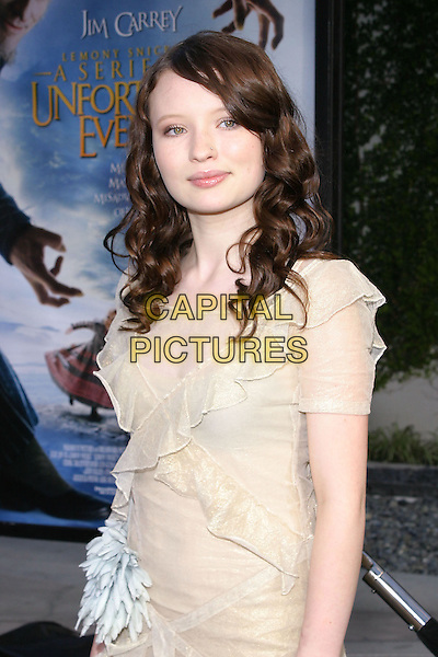 "EMILY BROWNING.World Premiere of ""Lemony Snicket's A Series of Unfortunate Events"" held at the Cinerama Dome..12 December 2004.half length, ruffles, layers, beige, cream.www.capitalpictures.com.sales@capitalpictures.com.© Capital Pictures."