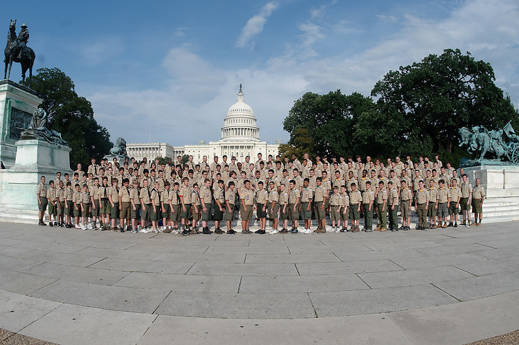 Boy Scouts at The U.S. Capitol during the annual Jamboree.  Boy Scout troop from New York. Professional Image Corporate Photography.