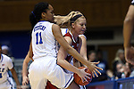17 December 2014: Oklahoma's Nicole Kornet (1) and Duke's Azura Stevens (11). The Duke University Blue Devils hosted the University of Oklahoma Sooners at Cameron Indoor Stadium in Durham, North Carolina in a 2014-15 NCAA Division I Women's Basketball game. Duke won the game 92-72.