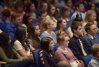 NWA Democrat-Gazette/BEN GOFF @NWABENGOFF<br /> Rogers Honors Academy students listen Sunday, Feb. 12, 2017, during an induction ceremony for the inaugural class of the Rogers Honors Academy at Rogers High School.