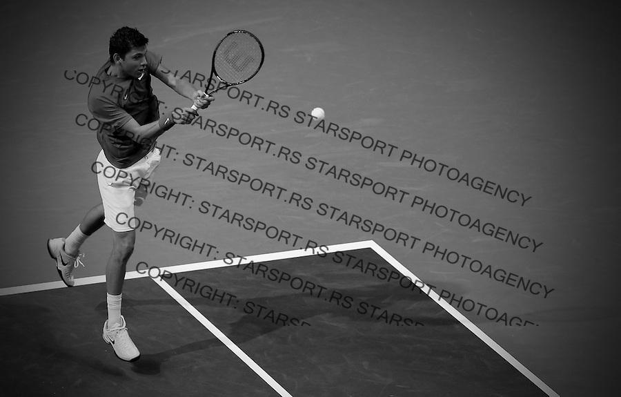 Davis Cup 2014 first round<br /> Srbija v Hrvatska<br /> Filip Krajinovic (SRB) v Franko Skugor (CRO)<br /> Filip Krajinovic in action<br /> Kraljevo, 08.03.2015.<br /> Foto: Srdjan Stevanovic/Starsportphoto.com&copy;