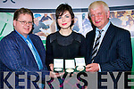 TOPS: Top awards was presented to Caoimhe Dennehy of Causeway Comprehensive School on Friday night of Gold, Bronze and Silver medals for her results in the Leaving cert 2008, by Brian Lucey Professor of Associate Finance, Trinty College Dublin and Brenda?n Mac Gearailth (Kerry Education)/ .