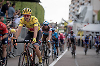 yellow jersey / GC leader Giulio Ciccone (ITA/Trek-Segafredo) rolling over the finish line in the bunch, securing his jersey<br /> <br /> Stage 7: Belfort to Chalon-sur-Saône (230km)<br /> 106th Tour de France 2019 (2.UWT)<br /> <br /> ©kramon