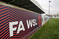 General view of the FAWSL signage during Arsenal Women vs Bristol City Women, Barclays FA Women's Super League Football at Meadow Park on 1st December 2019