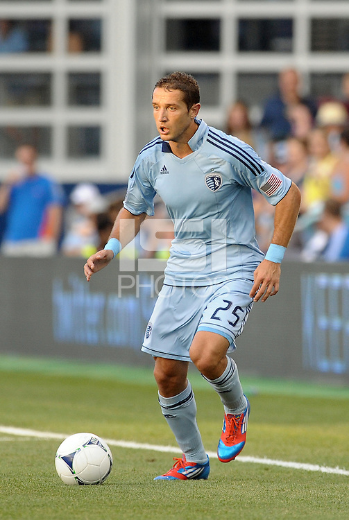 Neven Markovic (25) defender Sporting KC in actiion..Sporting Kansas City were defeated 3-0 by Montpellier HSC in an international friendly at LIVESTRONG Sporting Park, Kansas City, KS..