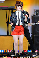 """NEW YORK, NY - JUNE 14: Recording artist Carly Rae Jepsen performs on ABC's """"Good Morning America"""" at Rumsey Playfield on June 14, 2013 in New York City. (Photo by Celebrity Monitor)"""