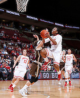 Ohio State Buckeyes guard Ameryst Alston (14) goes up against Lehigh Mountain Hawks guard Sarah Williams (14) during the second half of the NCAA women's basketball game at Value City Arena on Wednesday, November 27, 2013. (Columbus Dispatch photo by Jonathan Quilter)