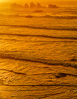769550409 sunset turns the pacific ocean and distant sea stacks a soft golden color along bandon beach on the central oregon coast