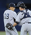 Masahiro Tanaka, Brian McCann (Yankees),<br /> APRIL 4, 2014 - MLB : Pitcher Masahiro Tanaka (19) of the New York Yankees talks with catcher Brian McCann during the Major League Baseball game against the Toronto Blue Jays at Rogers Centre in Toronto, Ontario, Canada.<br /> (Photo by AFLO)