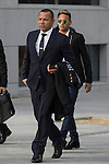 FC Barcelona's player Neymar Jr. arrives with his father Neymar Santos (L) to the national court to testify in an investigation into alleged irregularities regarding his transfer to Barcelona, in Madrid, Spain. February 02, 2016. (ALTERPHOTOS/Victor Blanco)