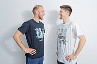 "Pictured: Mike van der Hoorn and team mate Federico Fernandez wearing two of the t-shirts. Tuesday 27 March 2018<br /> Re: New Swansea City FC t-shirts with messages like ""All The Meat on the Barbecue"" and 4pm London Traffic"" at the Fairwood Training Ground near Swansea, Wales, UK"