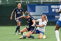 Allston, MA - Sunday July 17, 2016: Erin Simon, Louise Schillgard during a regular season National Women's Soccer League (NWSL) match between the Boston Breakers and Sky Blue FC at Jordan Field.